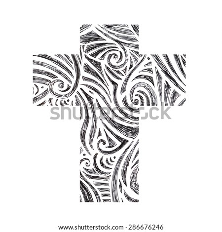 Easter cross clip art isolated on white background, hand drawn zentangle doodle cross design, inspirational church bulletin graphic art design, fun black and white cross in monochrome color - stock photo
