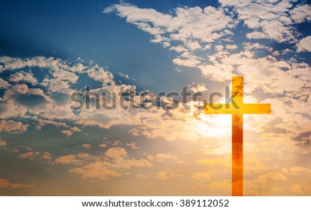 Easter Crucifix in sky background