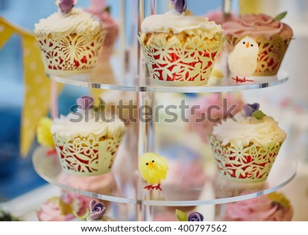 Easter cupcake window display in a cafe - stock photo