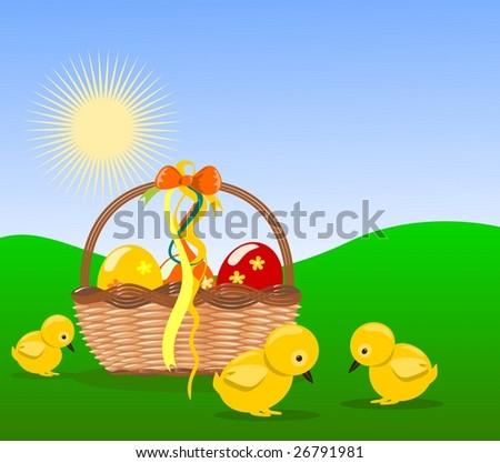 Easter decoration vector into nature background - stock photo