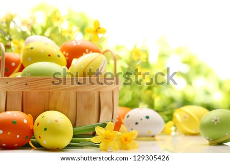 Easter decoration with eggs - stock photo