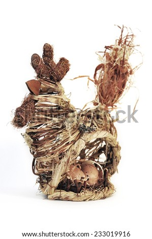 Easter decorations, hen of woven straw