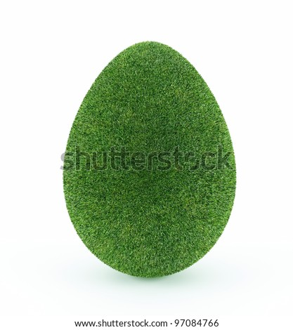 Easter egg covered in grass