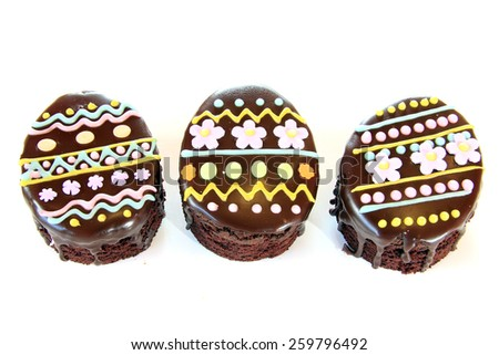 Easter egg decorated Chocolate brownie cakes  - stock photo
