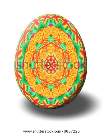 Easter egg decorated with kaleidoscope in bright springtime colors.