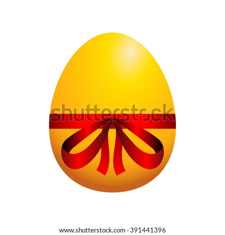 Easter egg, gold egg with red ribbon - stock photo