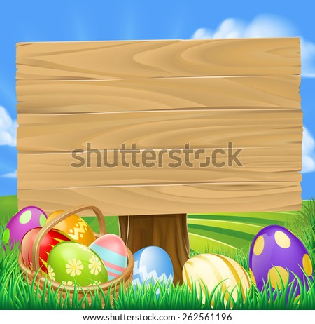 Easter Egg Hunt Cartoon Sign with a basket of Easter eggs in rolling green hills - stock photo