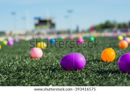 Easter Egg Hunt Plastic Colored Eggs Stock Photo Edit Now Shutterstock