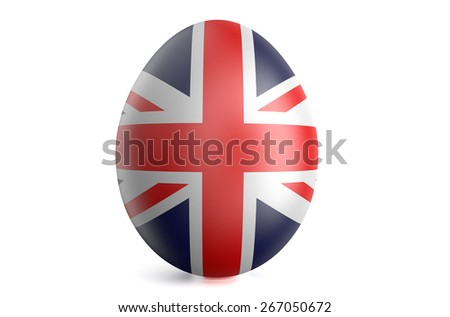 Easter egg with the flag of the Great Britain isolated on white background - stock photo