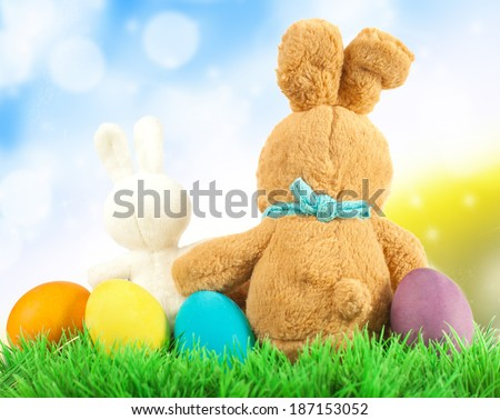 Easter Eggs and Bunny in Meadow - stock photo