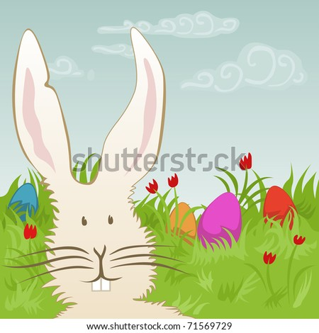 easter eggs and bunny on a meadow - for vector version see image no. 71114182 - stock photo