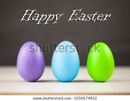 Easter eggs and heppy easter text background