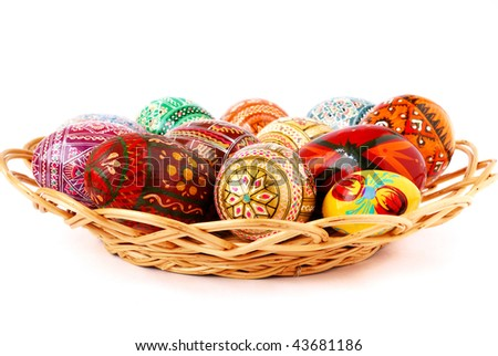 easter eggs are in  small basket