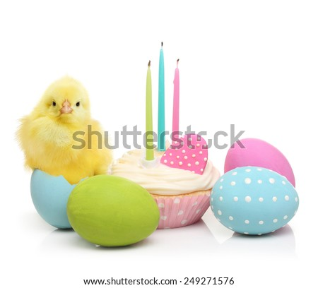 Easter eggs, cake and cute little chicken isolated on white background - stock photo