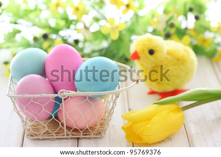 Easter eggs, chick and spring flower,Happy Easter. - stock photo