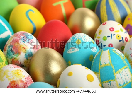 Easter eggs collection, in cardboard - stock photo