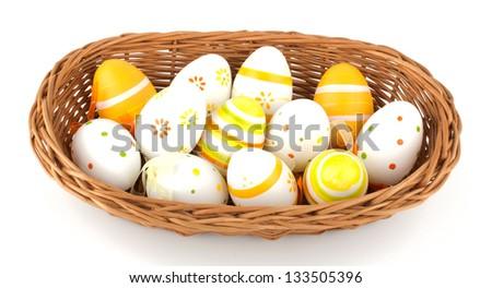 Easter eggs decor isolated on white background - stock photo
