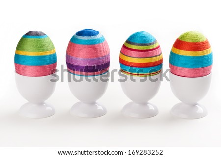 Easter eggs decoration on white background - stock photo