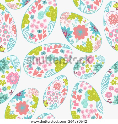 Easter eggs doodle seamless pattern. Hand-drawn background. - stock photo