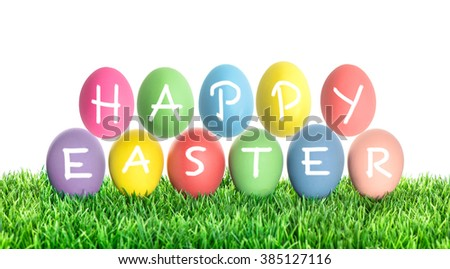 Easter eggs HAPPY EASTER. Holidays decoration on white background - stock photo