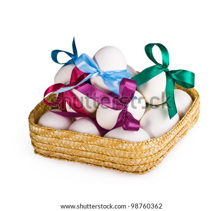 Easter. eggs in a basket