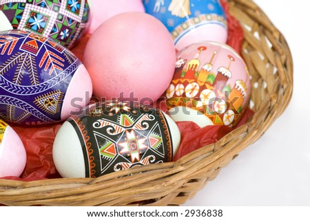 Easter eggs in a basket with white background