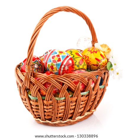 Easter eggs in basket isolate on white