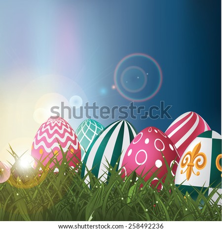 Easter eggs in field at sunrise background royalty free illustration for greeting card, ad, promotion, poster, flier, blog, article, social media, marketing, signage, web page, wallpaper - stock photo