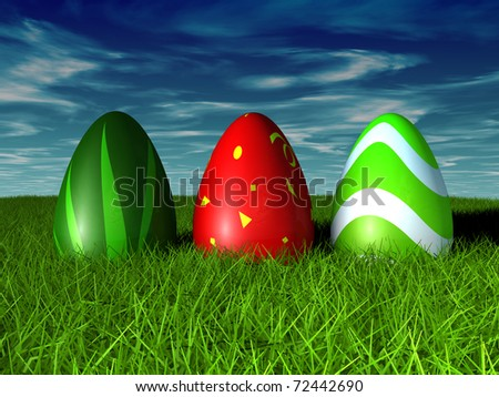 Easter Eggs in grass on a blue sky. 3D render concept - stock photo