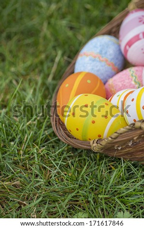 Easter eggs in grass with great colors