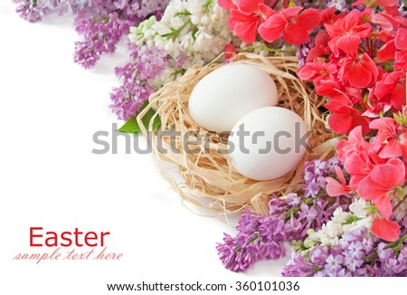 Easter eggs in nest and flowers isolated on white background with sample text - stock photo