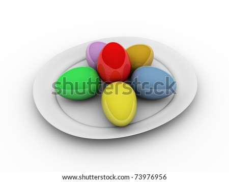 Easter Eggs in plate - this is 3d illustration
