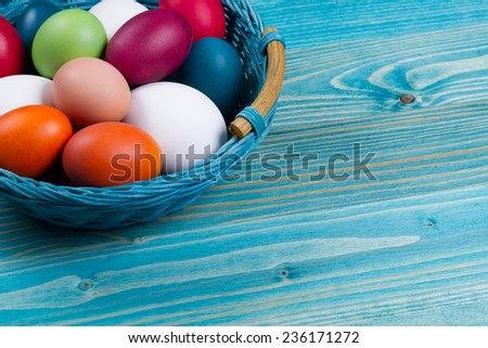 Easter eggs in the basket - stock photo
