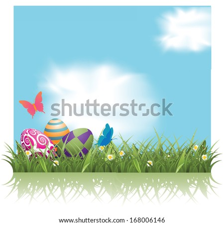 Easter eggs in the grass background. Jpg. - stock photo