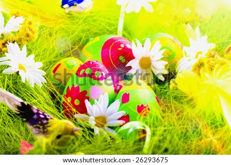 Easter eggs in the nest - stock photo