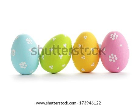 easter eggs isolated on white - stock photo