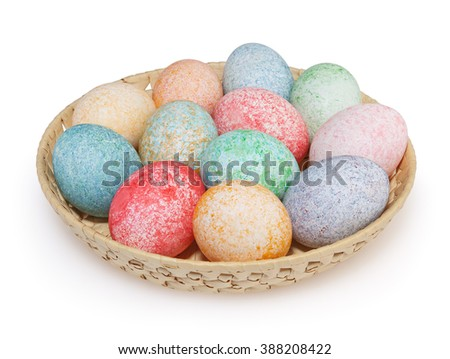 Easter eggs isolated on white background with clipping path - stock photo
