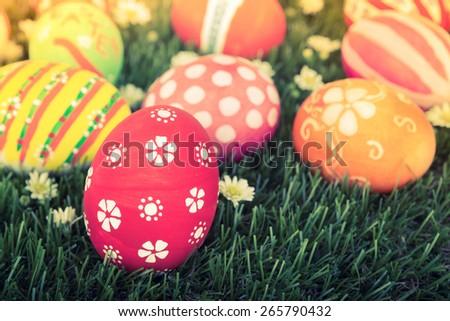 Easter Eggs on Fresh Green Grass - stock photo