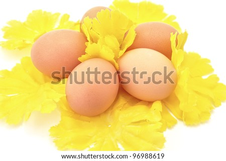 Easter eggs on yellow decorative flowers - stock photo