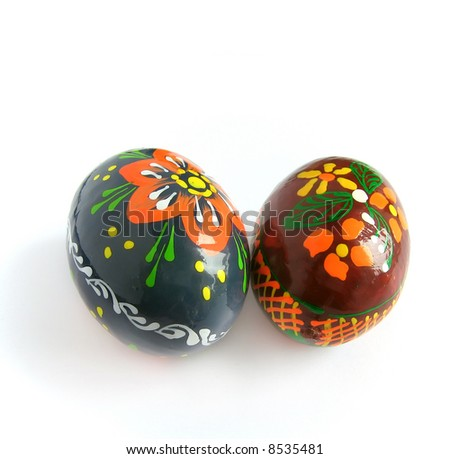 Easter eggs painted by bright paints