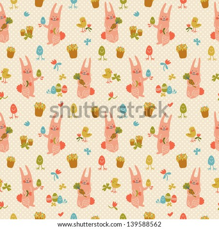 Easter eggs seamless pattern. - stock photo