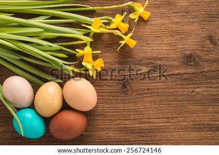 Easter eggs with daffodil flowers on wooden background   - stock photo