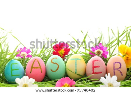 Easter Eggs with Daisy on Fresh Green Grass - stock photo