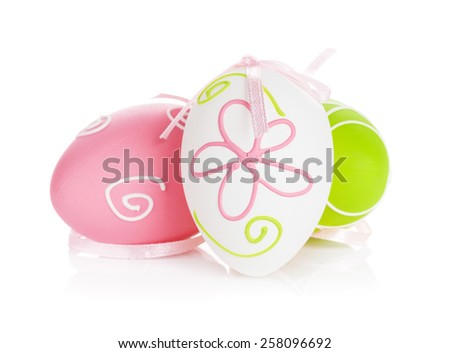 Easter eggs with ribbon. Isolated on white background - stock photo