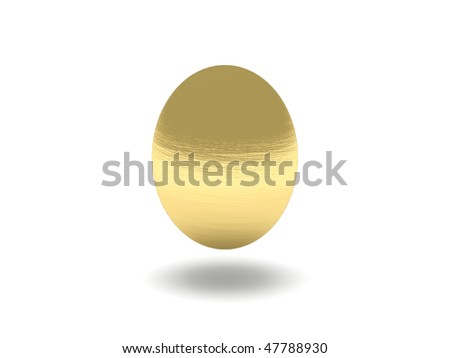 Easter golden egg isolated on white background. High quality 3d render. - stock photo
