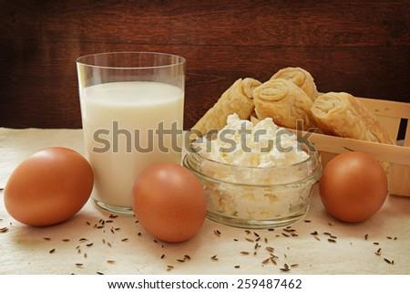 Easter health milk grainy curd egg bun rural Breakfast - stock photo