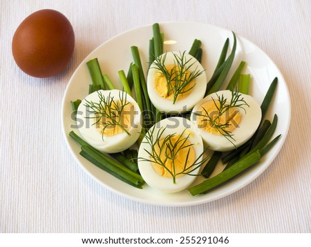 Easter healthy breakfast appetizer - eggs with dill and chive