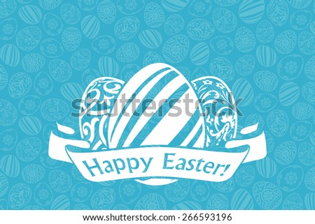 Easter Holiday Card with Eggs and Ribbon - stock photo