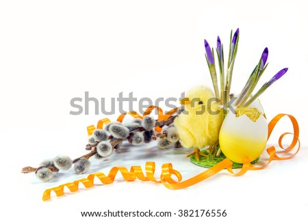 Easter holiday objects. yellow chick, painted egg shell , blooming willow branch, snowdrop. white background. Easter theme - stock photo
