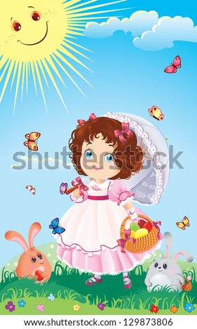 Easter illustration of cute little girl on a walk. - stock photo
